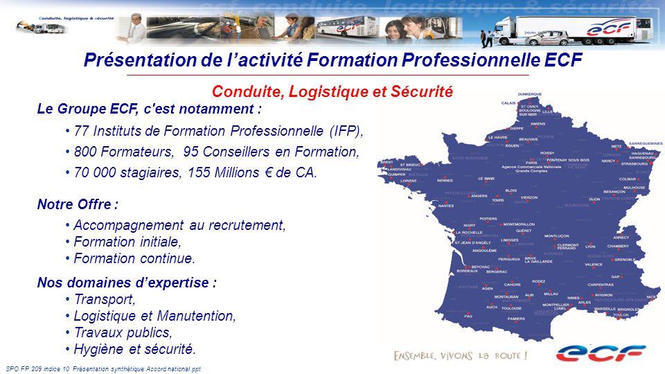 SPO.FP.209 indice 10 Présentation synthétique Accord national.ppt Le Groupe ECF, c est notamment : 77 Instituts de Formation Professionnelle (IFP), 800 Formateurs, 95 Conseillers en Formation, 70 000 stagiaires, 155 Millions de CA.