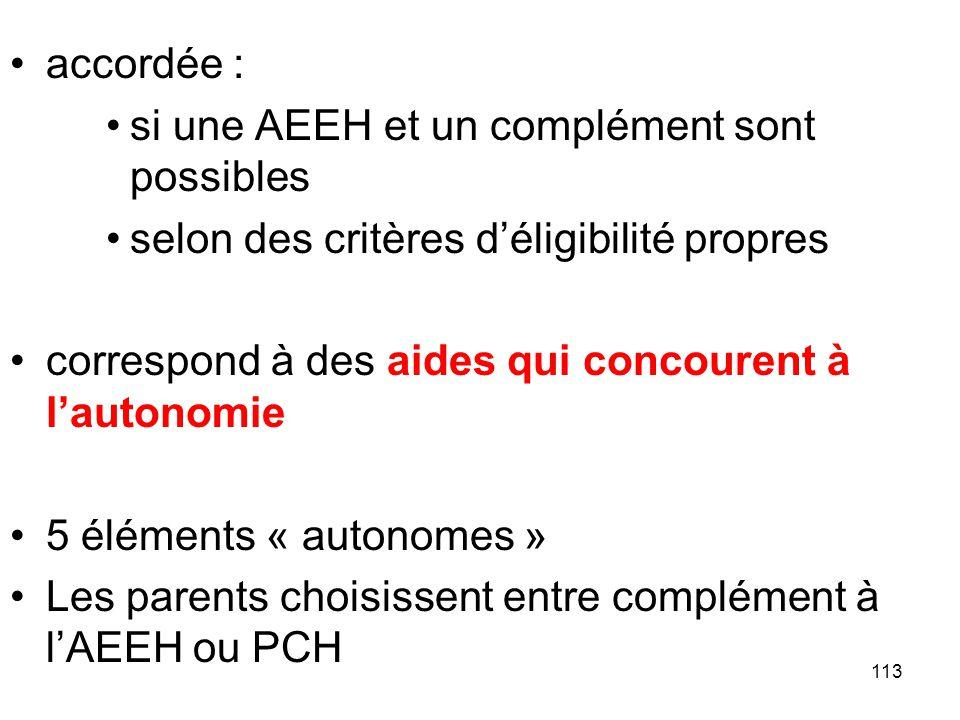 113 accordée : si une AEEH et un complément sont possibles selon des critères déligibilité propres correspond à des aides qui concourent à lautonomie