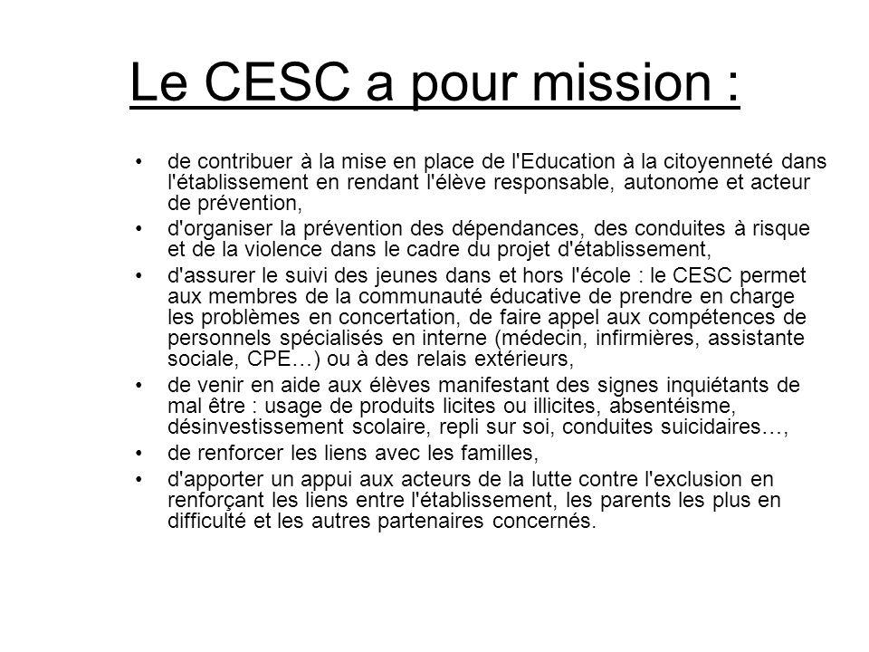 Le CESC a pour mission : de contribuer à la mise en place de l'Education à la citoyenneté dans l'établissement en rendant l'élève responsable, autonom