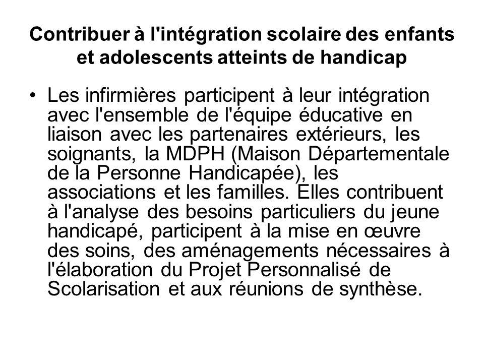 Contribuer à l'intégration scolaire des enfants et adolescents atteints de handicap Les infirmières participent à leur intégration avec l'ensemble de