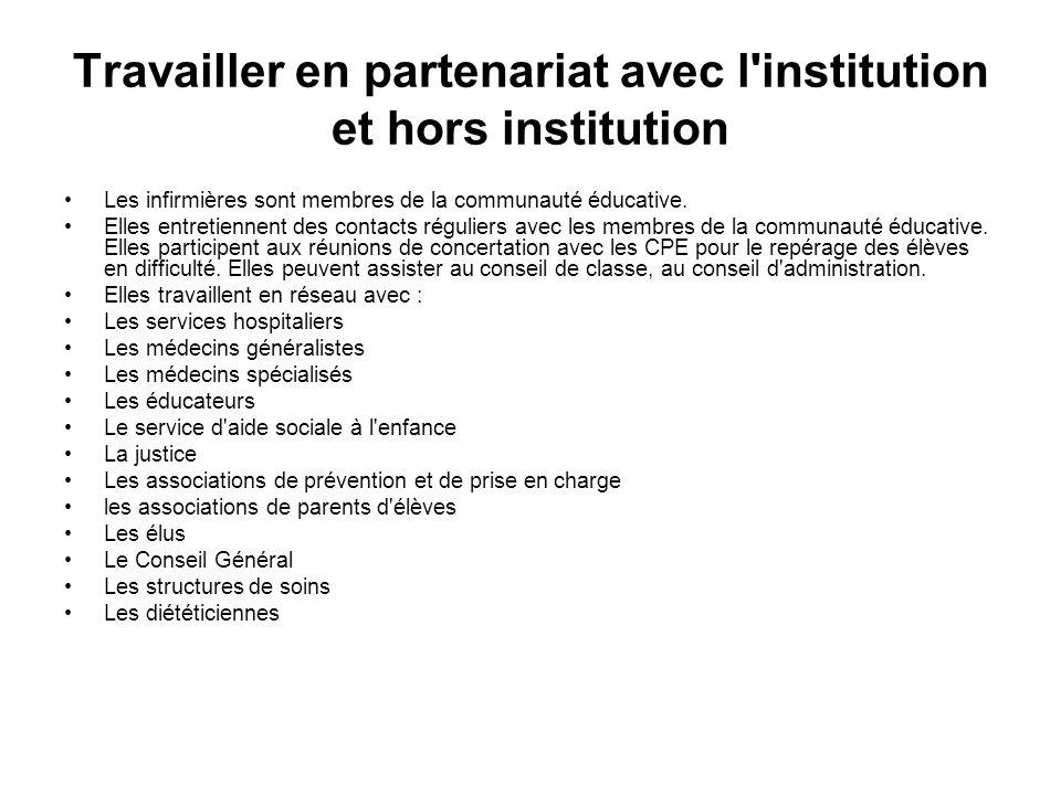 Travailler en partenariat avec l'institution et hors institution Les infirmières sont membres de la communauté éducative. Elles entretiennent des cont