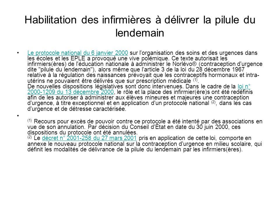 Habilitation des infirmières à délivrer la pilule du lendemain Le protocole national du 6 janvier 2000 sur l'organisation des soins et des urgences da