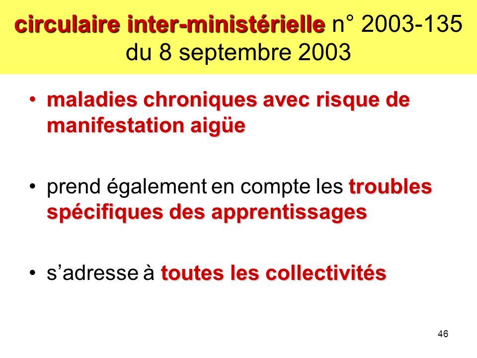 circulaire inter-ministérielle circulaire inter-ministérielle n° 2003-135 du 8 septembre 2003 maladies chroniques avec risque de manifestation aigüema