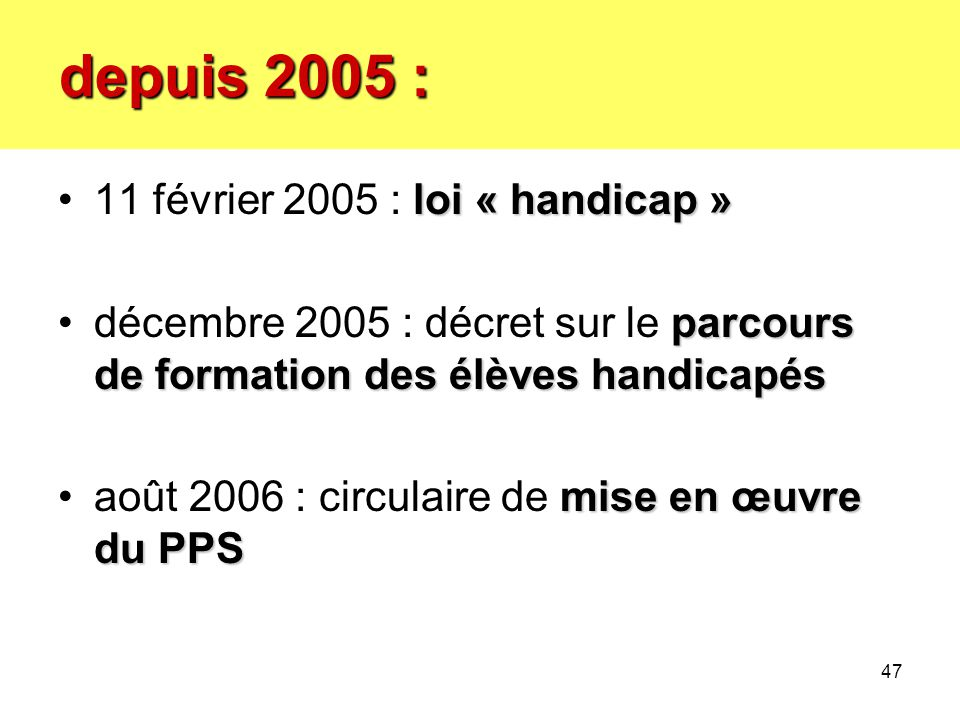 depuis 2005 : depuis 2005 : loi « handicap »11 février 2005 : loi « handicap » parcours de formation des élèves handicapésdécembre 2005 : décret sur l