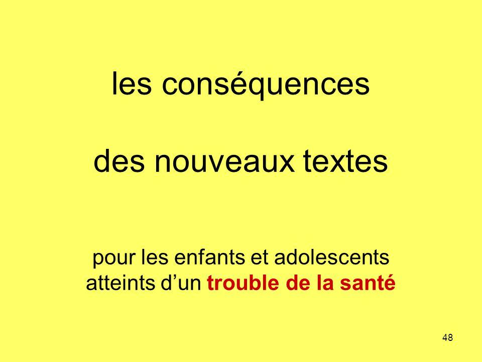 les conséquences des nouveaux textes pour les enfants et adolescents atteints dun trouble de la santé 48