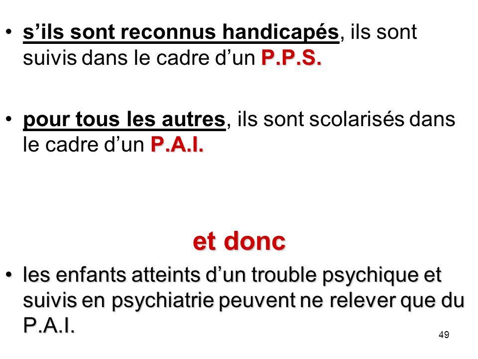 P.P.S.sils sont reconnus handicapés, ils sont suivis dans le cadre dun P.P.S. P.A.I.pour tous les autres, ils sont scolarisés dans le cadre dun P.A.I.