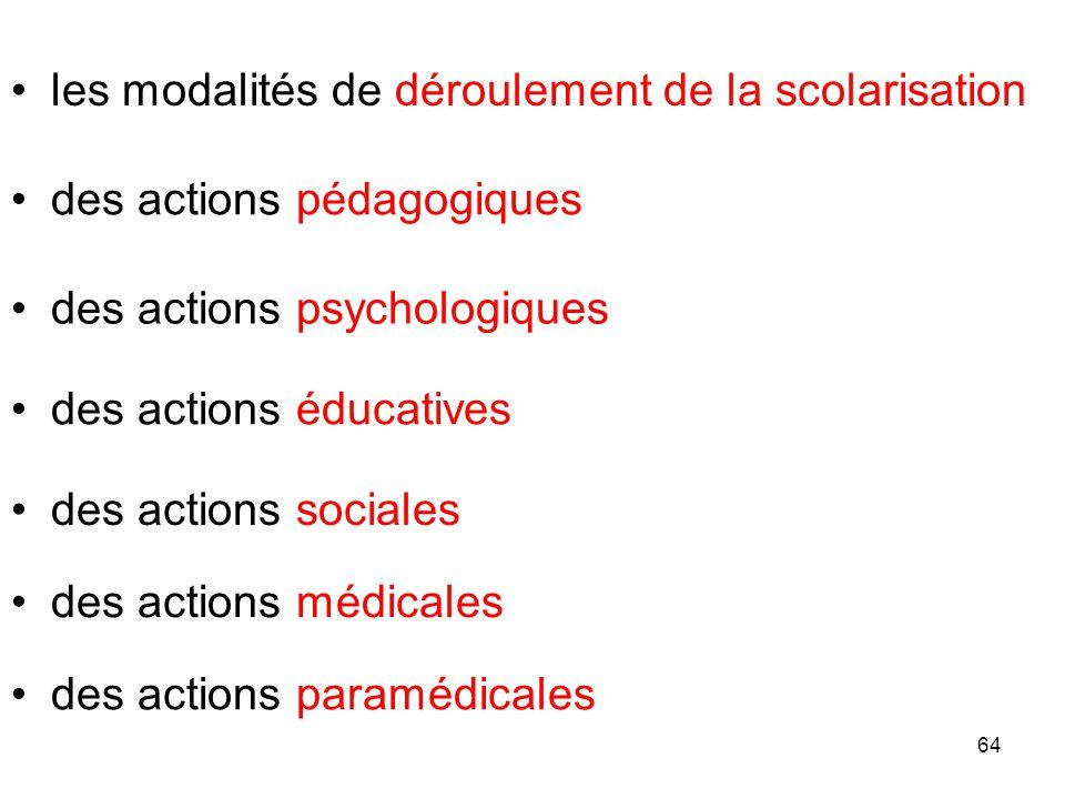 64 les modalités de déroulement de la scolarisation des actions pédagogiques des actions psychologiques des actions éducatives des actions sociales de