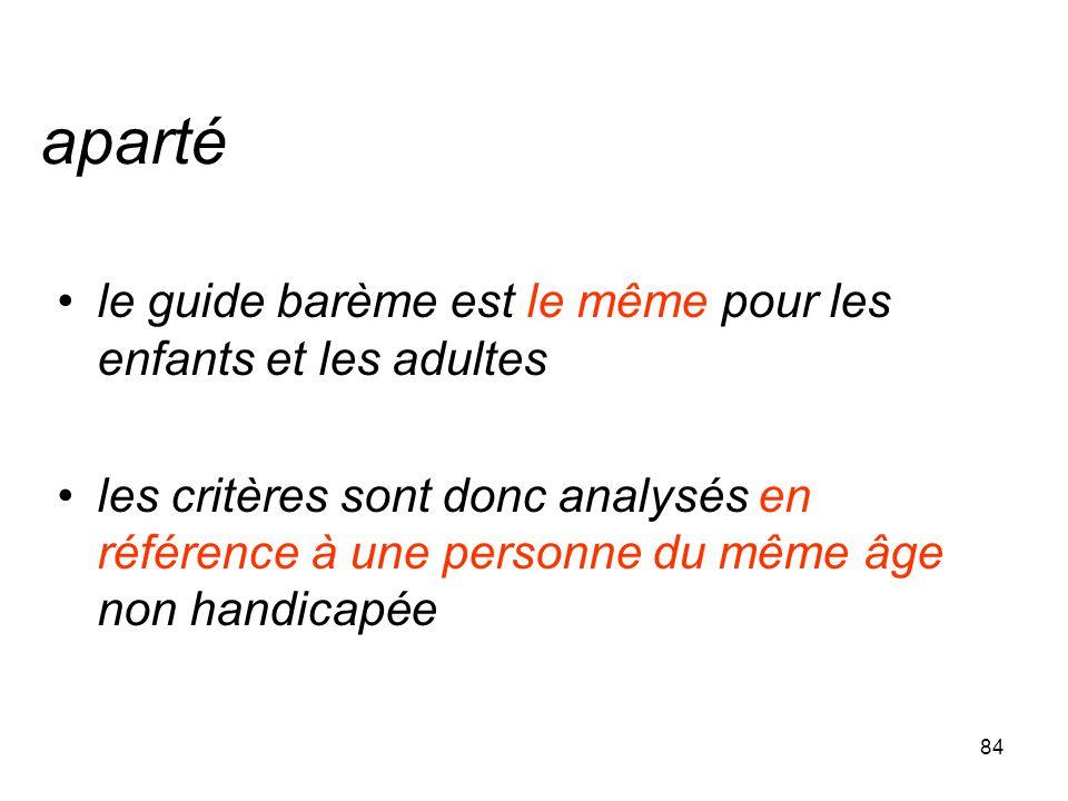 84 aparté le guide barème est le même pour les enfants et les adultes les critères sont donc analysés en référence à une personne du même âge non hand