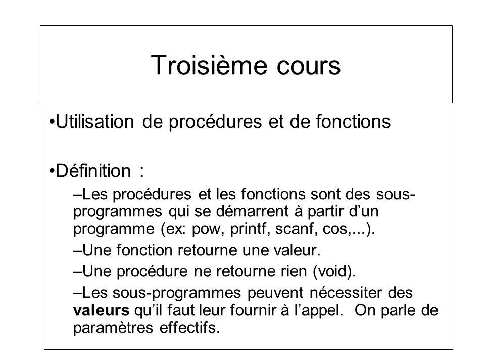 Utilisation de procédures et de fonctions Définition : –Les procédures et les fonctions sont des sous- programmes qui se démarrent à partir dun progra