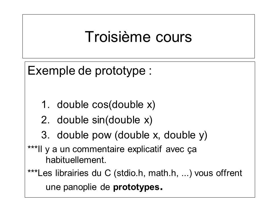 Troisième cours Exemple de prototype : 1.double cos(double x) 2.double sin(double x) 3.double pow (double x, double y) ***Il y a un commentaire explic