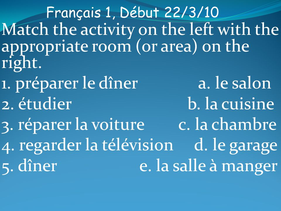 Français 1, Début 22/3/10 Match the activity on the left with the appropriate room (or area) on the right.