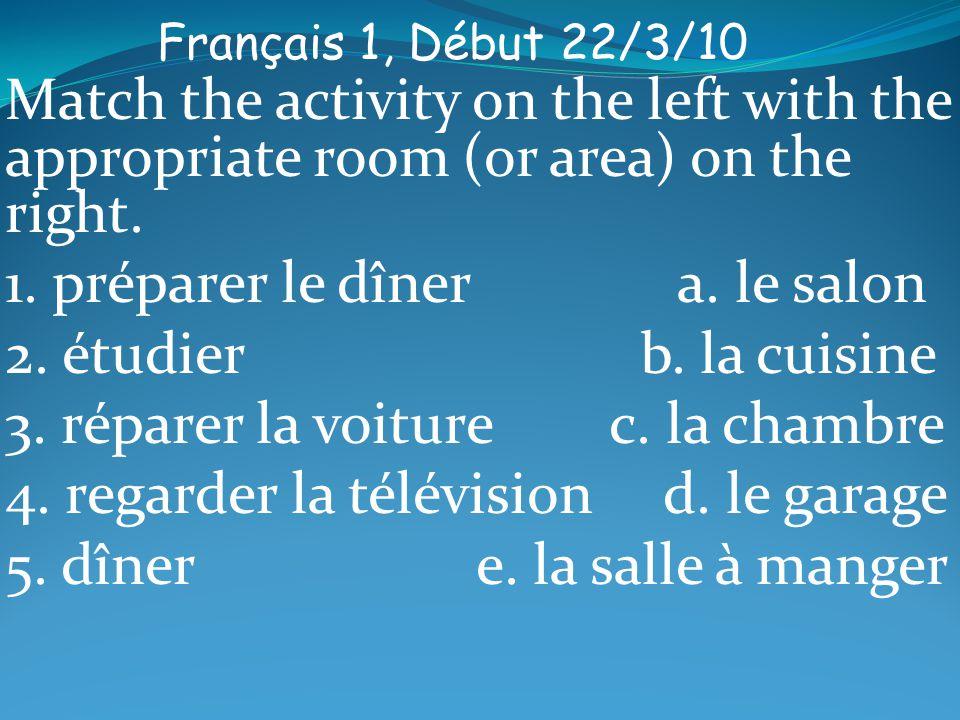 Français 1, Début 22/3/10 Match the activity on the left with the appropriate room (or area) on the right. 1. préparer le dîner a. le salon 2. étudier