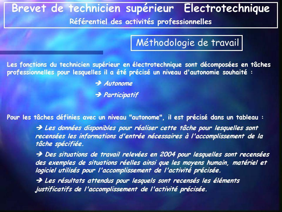 Les fonctions du technicien supérieur en électrotechnique sont décomposées en tâches professionnelles pour lesquelles il a été précisé un niveau d'aut