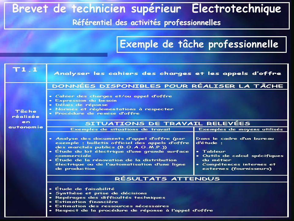 Exemple de tâche professionnelle Brevet de technicien supérieur Electrotechnique Référentiel des activités professionnelles