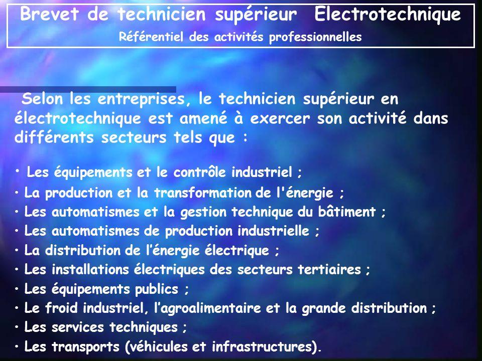 Selon les entreprises, le technicien supérieur en électrotechnique est amené à exercer son activité dans différents secteurs tels que : Les équipement