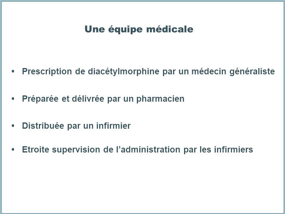 Une équipe médicale Prescription de diacétylmorphine par un médecin généraliste Préparée et délivrée par un pharmacien Distribuée par un infirmier Etr
