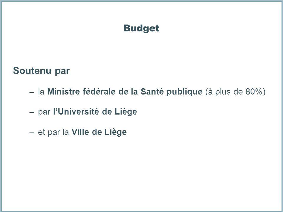 Budget Soutenu par –la Ministre fédérale de la Santé publique (à plus de 80%) –par lUniversité de Liège –et par la Ville de Liège
