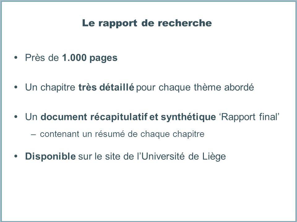 Le rapport de recherche Près de 1.000 pages Un chapitre très détaillé pour chaque thème abordé Un document récapitulatif et synthétique Rapport final