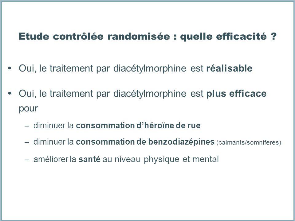 Etude contrôlée randomisée : quelle efficacité ? Oui, le traitement par diacétylmorphine est réalisable Oui, le traitement par diacétylmorphine est pl