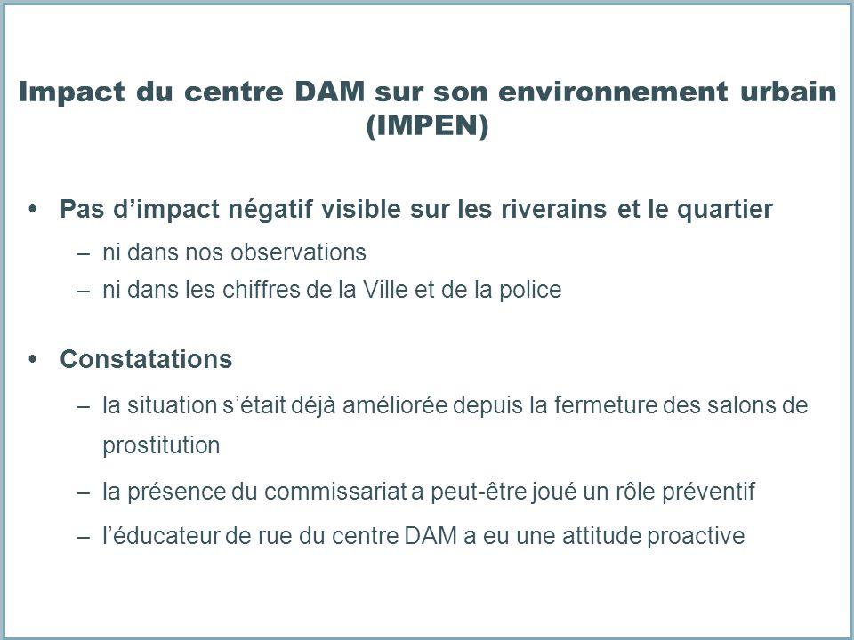 Impact du centre DAM sur son environnement urbain (IMPEN) Pas dimpact négatif visible sur les riverains et le quartier –ni dans nos observations –ni d