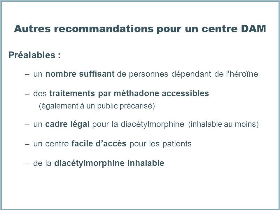 Autres recommandations pour un centre DAM Préalables : –un nombre suffisant de personnes dépendant de l'héroïne –des traitements par méthadone accessi