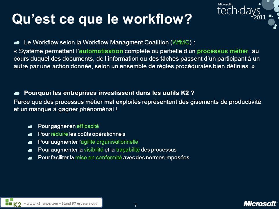 7 – www.k2france.com – Stand P7 espace cloud Quest ce que le workflow? Le Workflow selon la Workflow Managment Coalition (WfMC) : « Système permettant