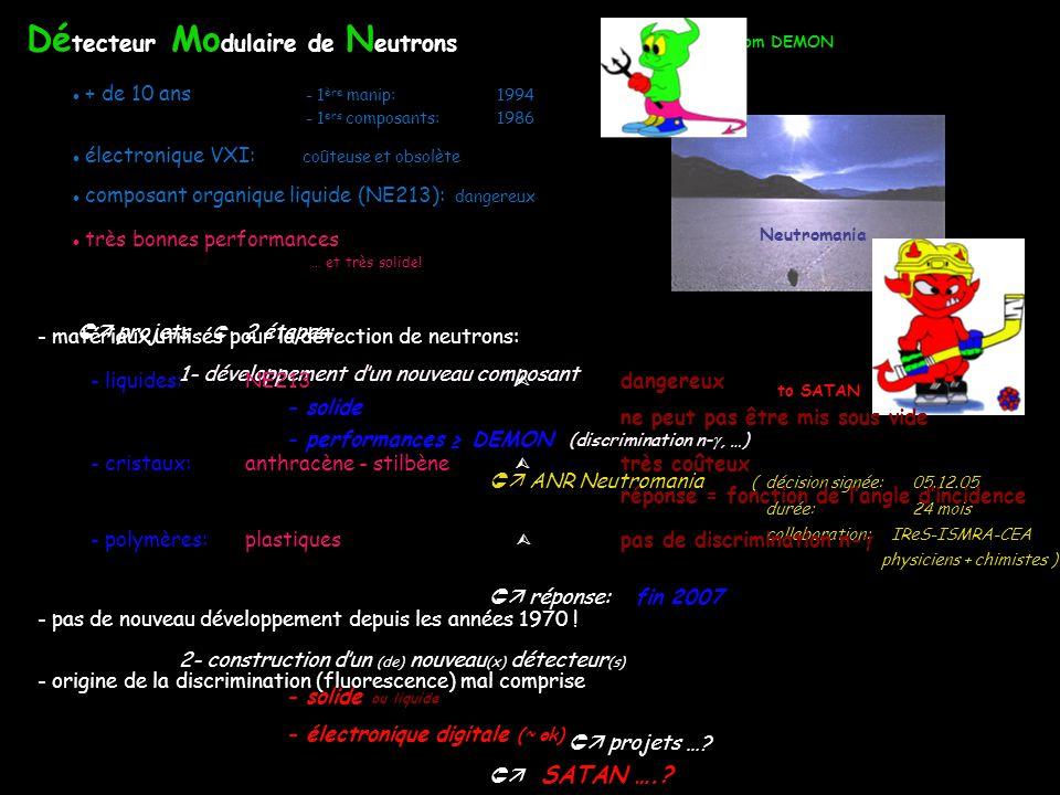 Neutromania Dé tecteur Mo dulaire de N eutrons + de 10 ans - 1 ère manip:1994 - 1 ers composants: 1986 composant organique liquide (NE213): dangereux électronique VXI: coûteuse et obsolète très bonnes performances from DEMON to SATAN projets 2 étapes: 1- développement d un nouveau composant - solide - performances DEMON (discrimination n-, …) réponse: fin 2007 2- construction dun (de) nouveau (x) détecteur (s) - solide ou liquide - électronique digitale (~ ok) SATAN …..