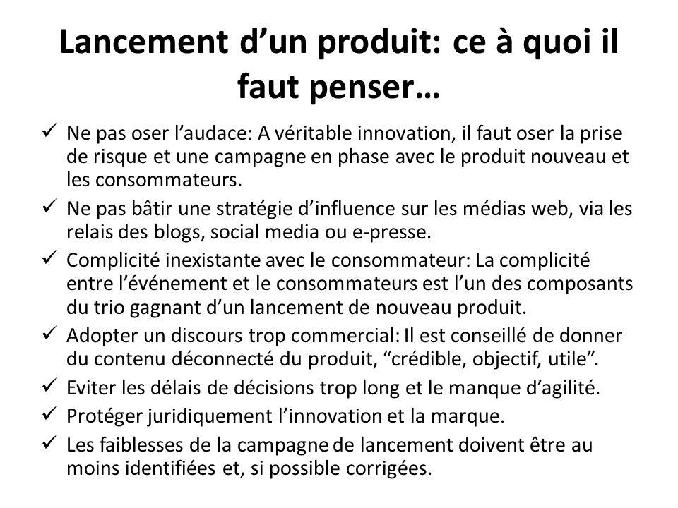 Lancement dun produit: ce à quoi il faut penser… Ne pas oser laudace: A véritable innovation, il faut oser la prise de risque et une campagne en phase