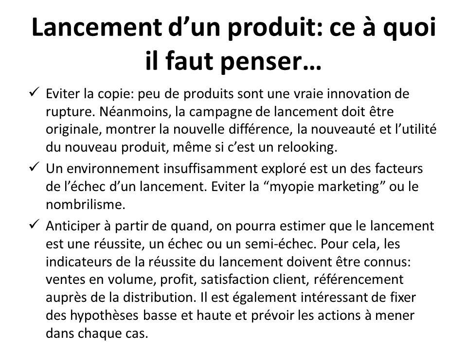 Lancement dun produit: ce à quoi il faut penser… Eviter la copie: peu de produits sont une vraie innovation de rupture. Néanmoins, la campagne de lanc