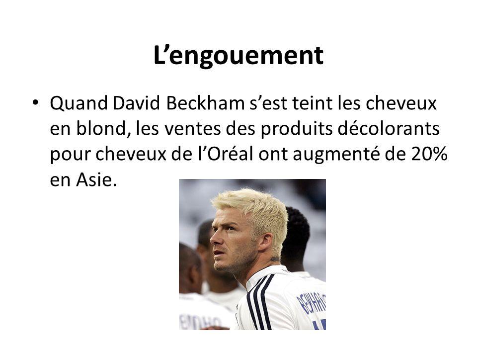 Lengouement Quand David Beckham sest teint les cheveux en blond, les ventes des produits décolorants pour cheveux de lOréal ont augmenté de 20% en Asi