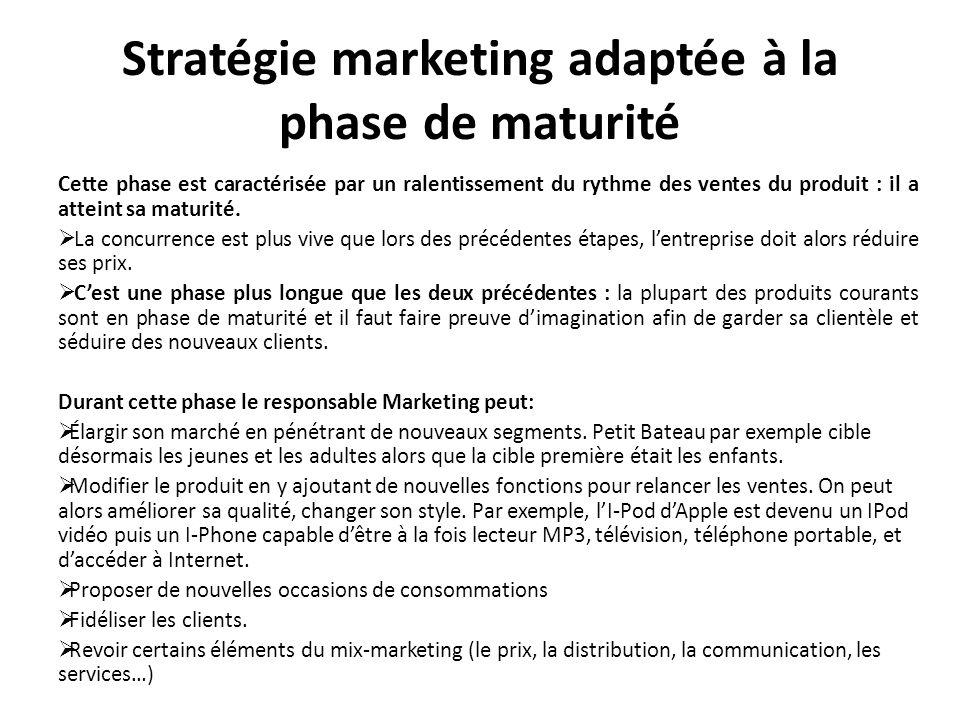 Stratégie marketing adaptée à la phase de maturité Cette phase est caractérisée par un ralentissement du rythme des ventes du produit : il a atteint s