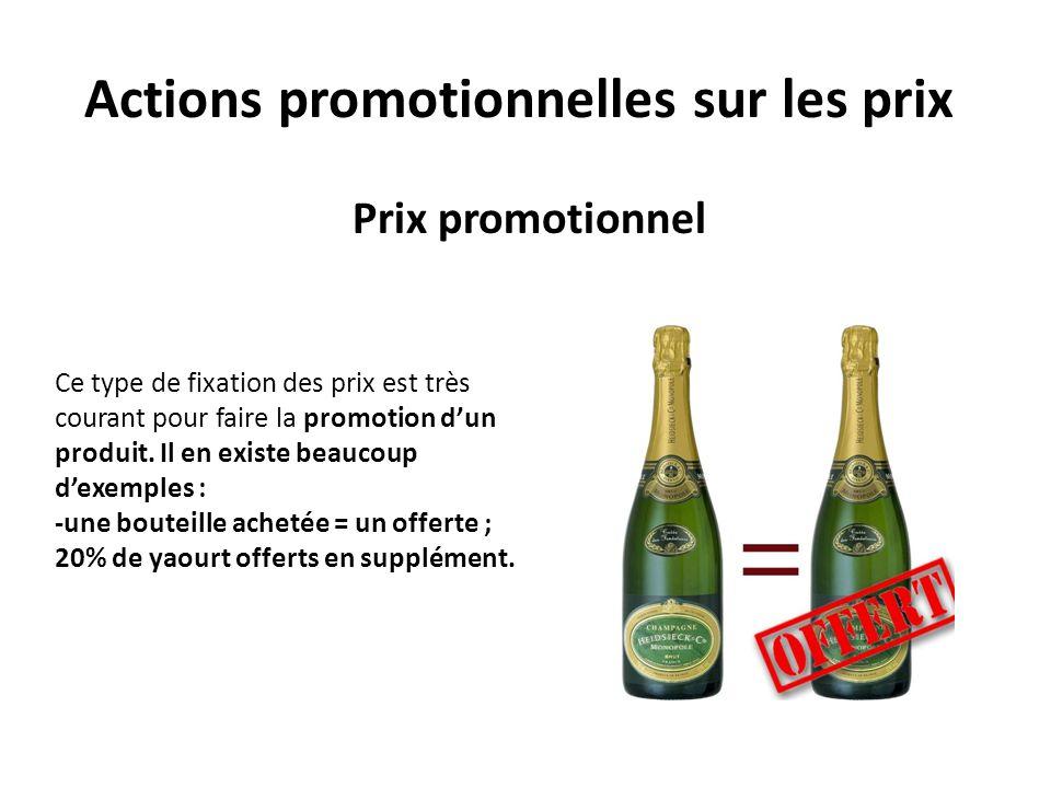 Actions promotionnelles sur les prix Prix promotionnel Ce type de fixation des prix est très courant pour faire la promotion dun produit. Il en existe