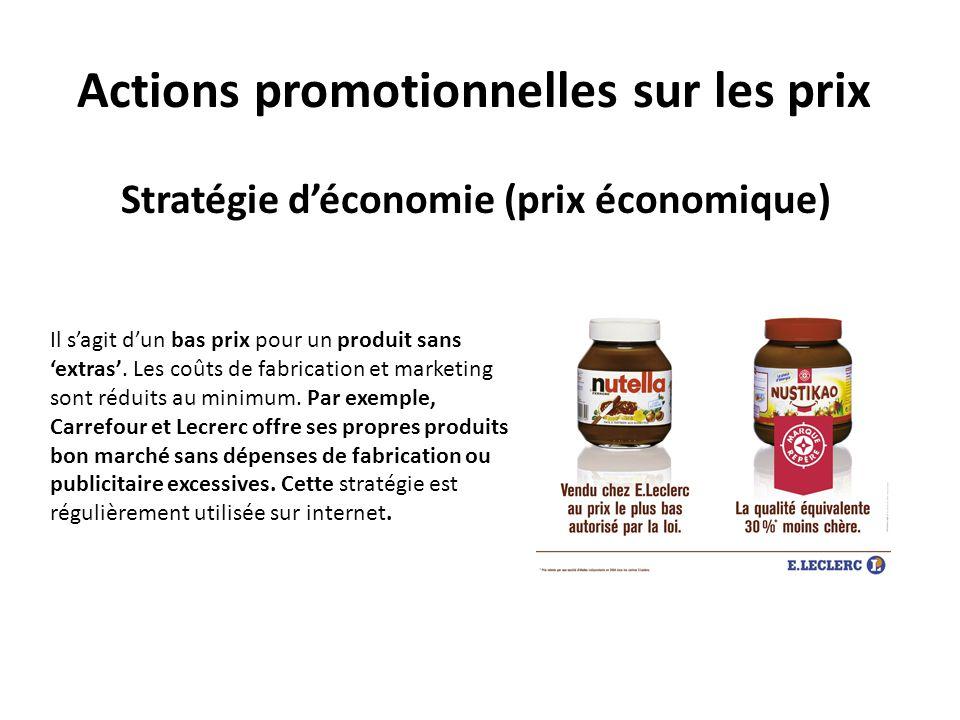 Actions promotionnelles sur les prix Stratégie déconomie (prix économique) Il sagit dun bas prix pour un produit sans extras. Les coûts de fabrication