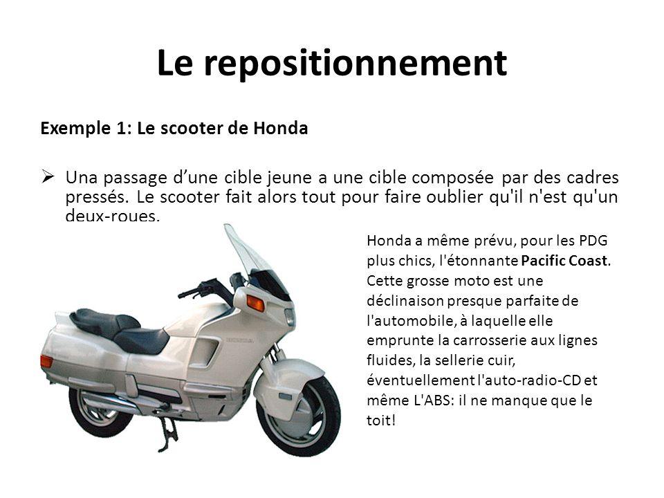 Le repositionnement Exemple 1: Le scooter de Honda Una passage dune cible jeune a une cible composée par des cadres pressés. Le scooter fait alors tou