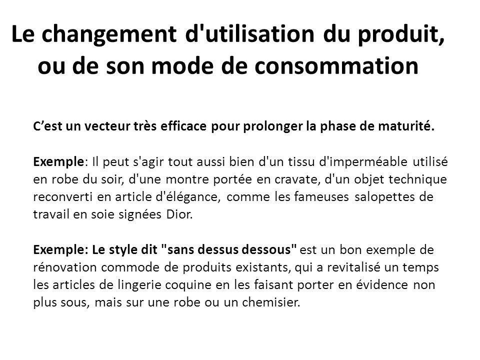 Le changement d'utilisation du produit, ou de son mode de consommation Cest un vecteur très efficace pour prolonger la phase de maturité. Exemple: Il