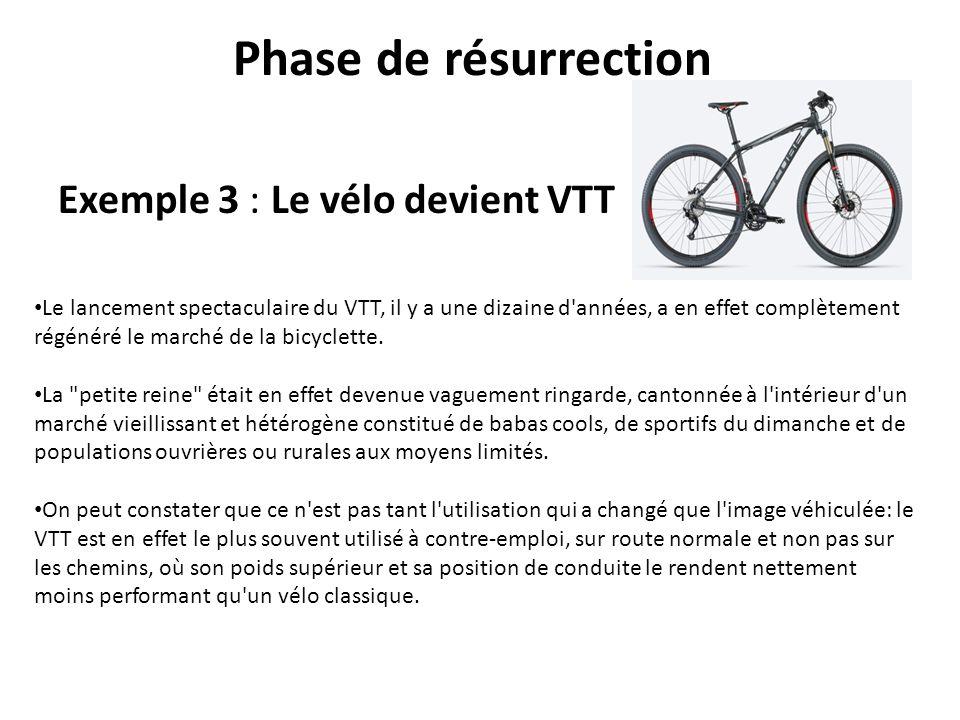 Phase de résurrection Exemple 3 : Le vélo devient VTT Le lancement spectaculaire du VTT, il y a une dizaine d'années, a en effet complètement régénéré