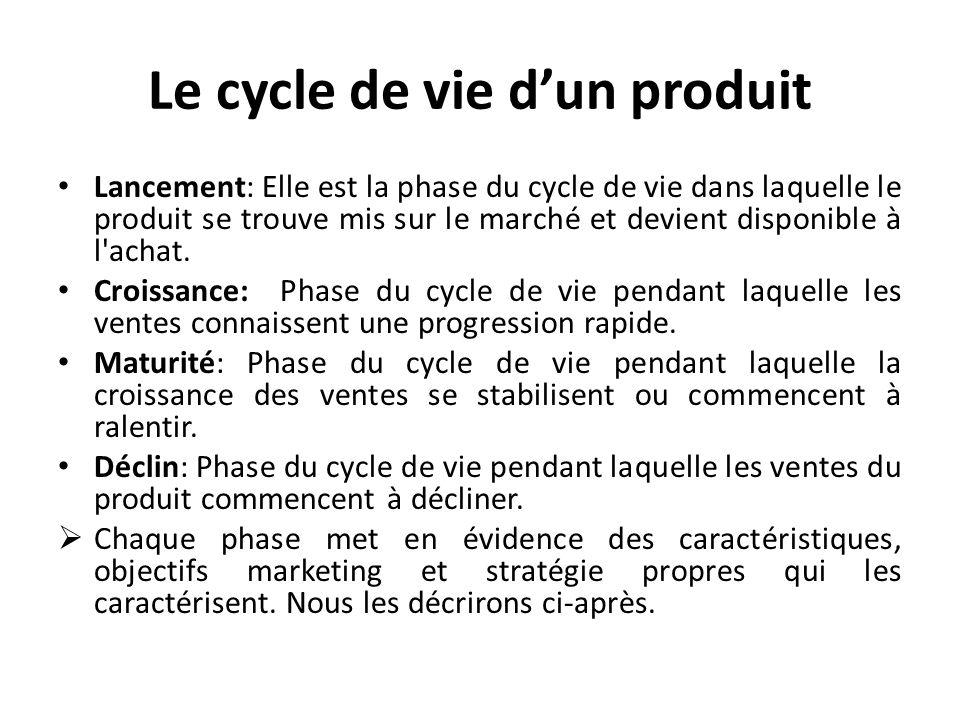 Le cycle de vie dun produit Lancement: Elle est la phase du cycle de vie dans laquelle le produit se trouve mis sur le marché et devient disponible à