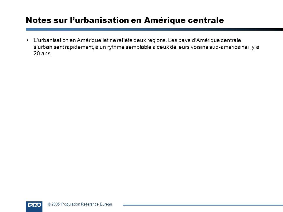 © 2005 Population Reference Bureau Notes sur lurbanisation en Amérique centrale Lurbanisation en Amérique latine reflète deux régions. Les pays dAméri