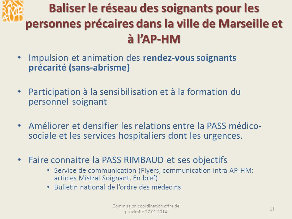Baliser le réseau des soignants pour les personnes précaires dans la ville de Marseille et à lAP-HM Impulsion et animation des rendez-vous soignants p