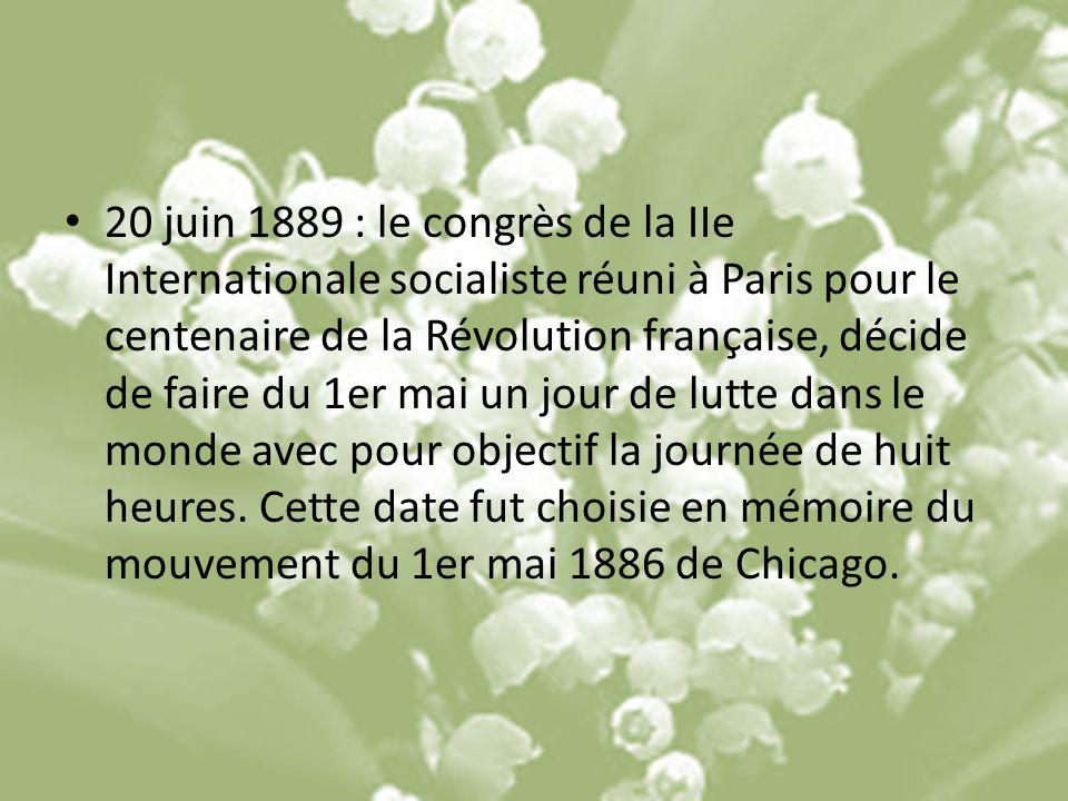 20 juin 1889 : le congrès de la IIe Internationale socialiste réuni à Paris pour le centenaire de la Révolution française, décide de faire du 1er mai