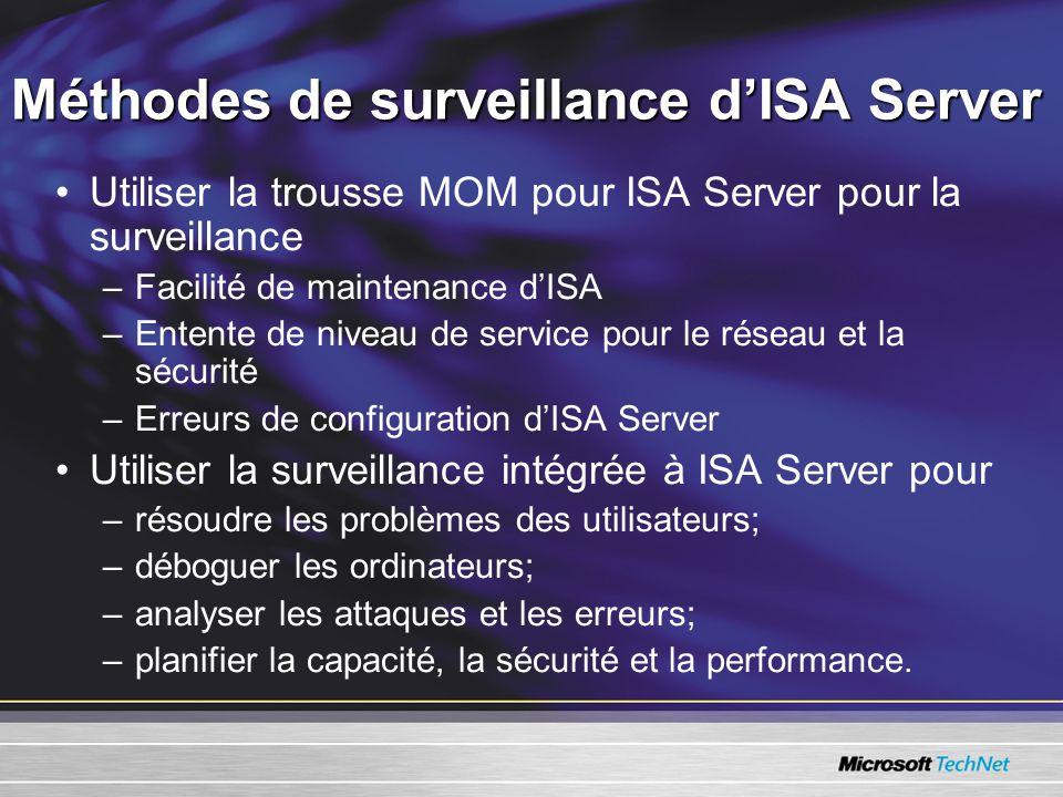 Méthodes de surveillance dISA Server Utiliser la trousse MOM pour ISA Server pour la surveillance –Facilité de maintenance dISA –Entente de niveau de service pour le réseau et la sécurité –Erreurs de configuration dISA Server Utiliser la surveillance intégrée à ISA Server pour –résoudre les problèmes des utilisateurs; –déboguer les ordinateurs; –analyser les attaques et les erreurs; –planifier la capacité, la sécurité et la performance.