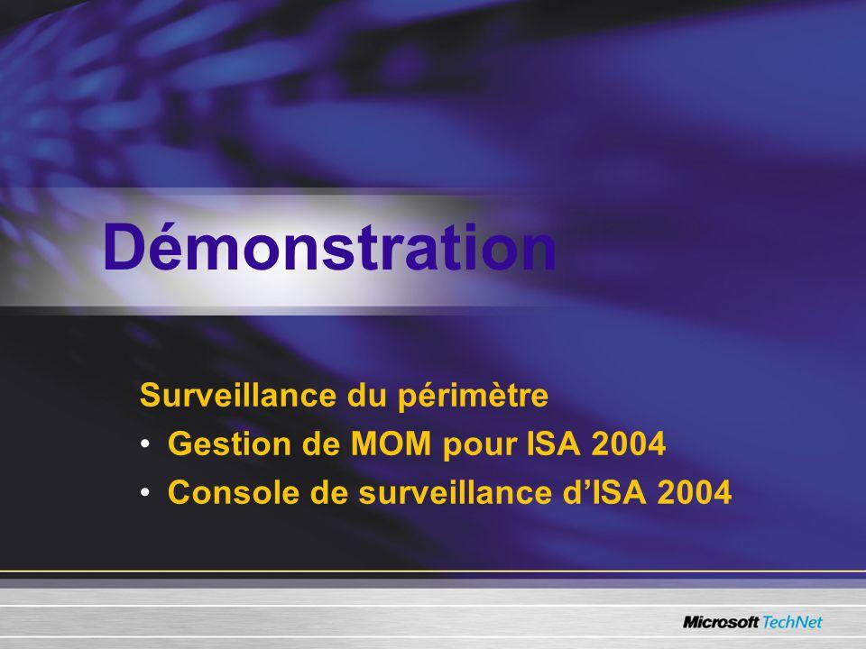 Surveillance du périmètre Gestion de MOM pour ISA 2004 Console de surveillance dISA 2004 Démonstration
