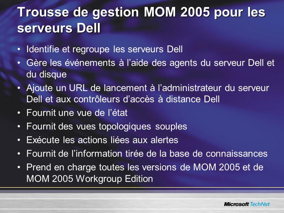 Trousse de gestion MOM 2005 pour les serveurs Dell Identifie et regroupe les serveurs Dell Gère les événements à laide des agents du serveur Dell et du disque Ajoute un URL de lancement à ladministrateur du serveur Dell et aux contrôleurs daccès à distance Dell Fournit une vue de létat Fournit des vues topologiques souples Exécute les actions liées aux alertes Fournit de linformation tirée de la base de connaissances Prend en charge toutes les versions de MOM 2005 et de MOM 2005 Workgroup Edition