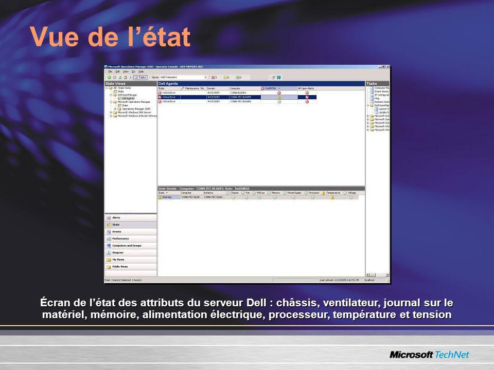 Vue de létat Écran de létat des attributs du serveur Dell : châssis, ventilateur, journal sur le matériel, mémoire, alimentation électrique, processeur, température et tension