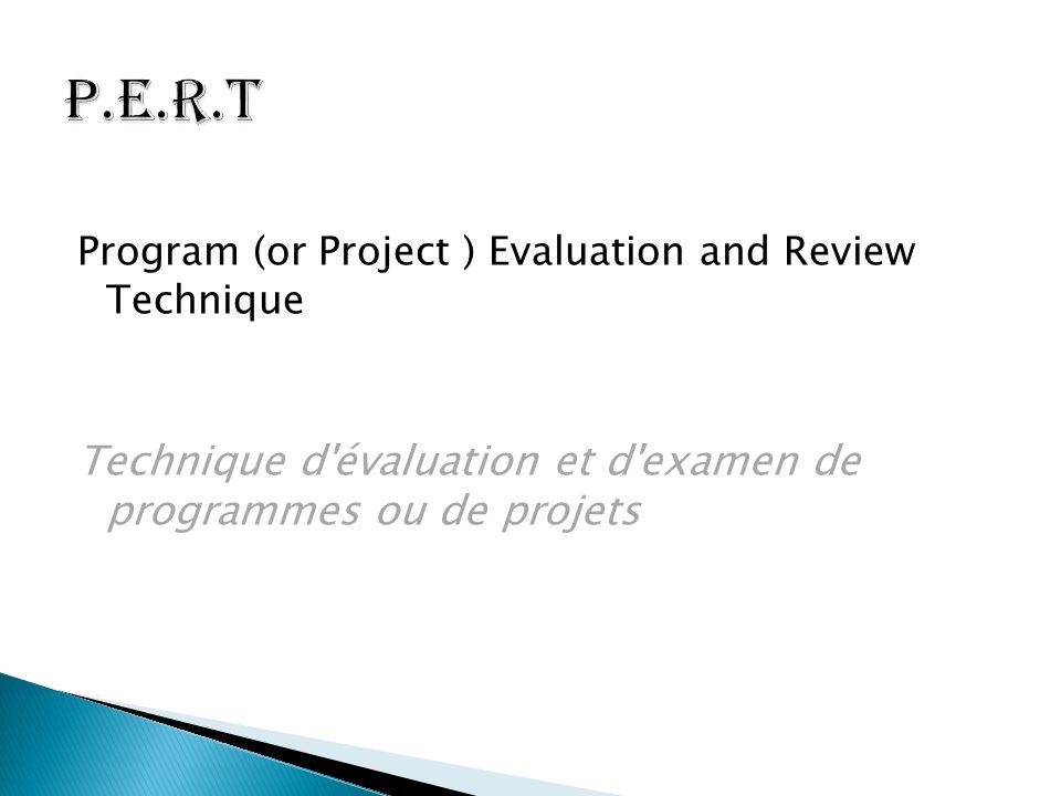 Program (or Project ) Evaluation and Review Technique Technique d'évaluation et d'examen de programmes ou de projets
