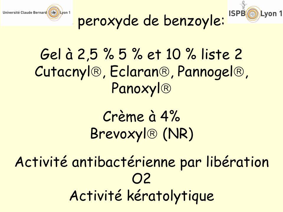 Le peroxyde de benzoyle: Gel à 2,5 % 5 % et 10 % liste 2 Cutacnyl, Eclaran, Pannogel, Panoxyl Crème à 4% Brevoxyl (NR) Activité antibactérienne par li