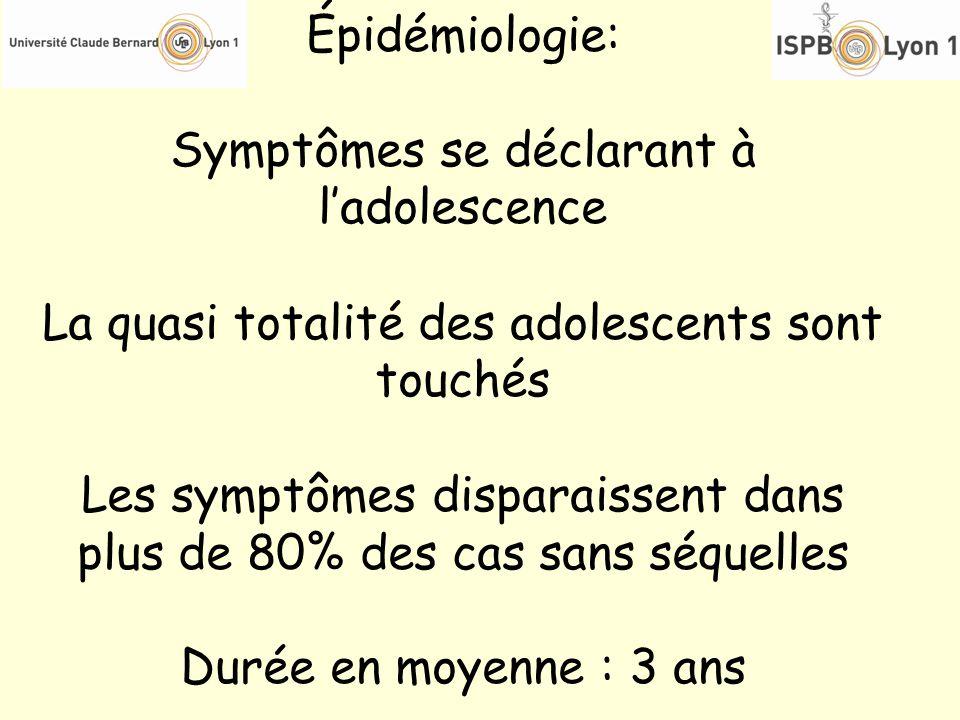 Épidémiologie: Symptômes se déclarant à ladolescence La quasi totalité des adolescents sont touchés Les symptômes disparaissent dans plus de 80% des c