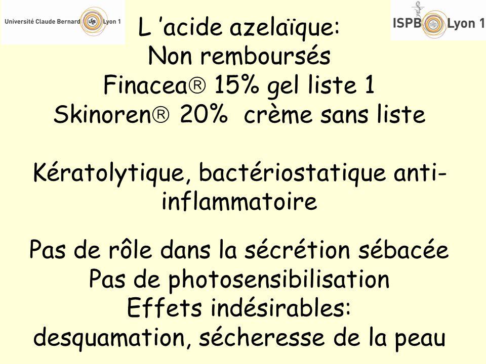 L acide azelaïque: Non remboursés Finacea 15% gel liste 1 Skinoren 20% crème sans liste Kératolytique, bactériostatique anti- inflammatoire Pas de rôl