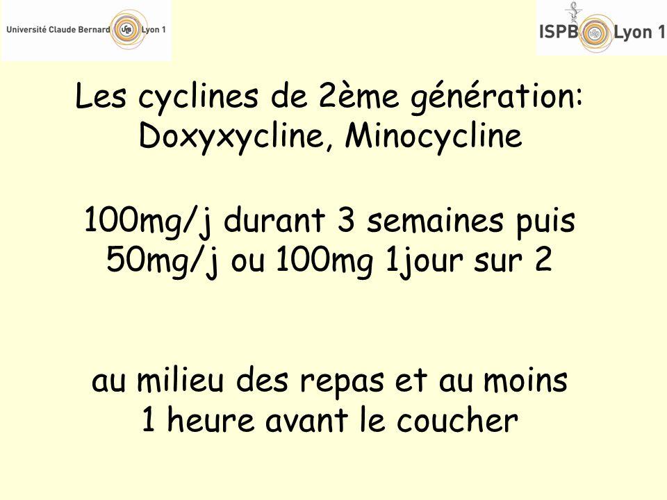 Les cyclines de 2ème génération: Doxyxycline, Minocycline 100mg/j durant 3 semaines puis 50mg/j ou 100mg 1jour sur 2 au milieu des repas et au moins 1