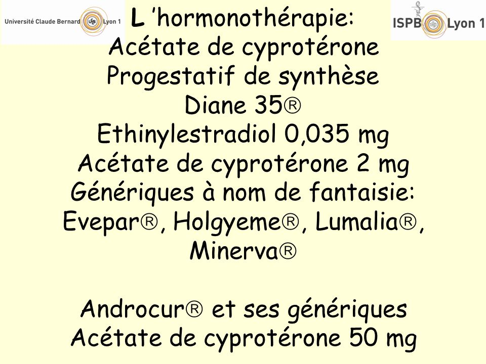 L hormonothérapie: Acétate de cyprotérone Progestatif de synthèse Diane 35 Ethinylestradiol 0,035 mg Acétate de cyprotérone 2 mg Génériques à nom de f
